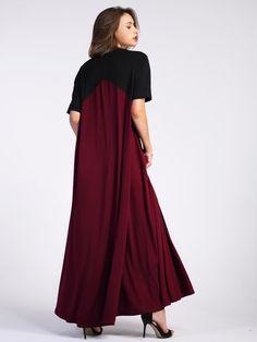 Color Block Floor Length Tent Dress -SheIn(Sheinside)