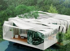 Bird Island: Zero Energy Home in Kuala Lumpur. Bird Island is a stunning urban renewal project that is currently being developed in Kuala Lumpur, Malaysia. Designed by Graft Lab architects for the YTL Green Home Competition, the project comprises a zero energy home made of sustainably-sourced silicone glass fabric.