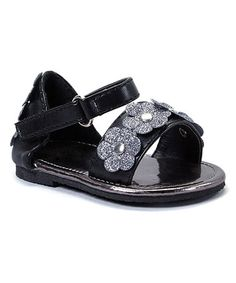 Look what I found on #zulily! Black Sparkle Daisy Sandal #zulilyfinds
