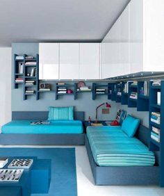 The Coolest Decorating Ideas For Your Kids Bedroom Design Kids Bedroom Boys, Boy Room, Childrens Bedroom, Space Saving Bedroom, Teen Boy Bedding, Shared Bedrooms, Kid Bedrooms, Kids Room Design, Small Rooms