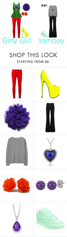 """girly girl vs. tomboy"" by sierra-ivy on Polyvore featuring 7 For All Mankind, J Brand, MANGO, Icz Stonez, Tresor Paris, City Rox and Reebok"