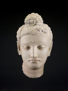 Gandhâran, Kushan dynasty; Head of Sâkyamuni Buddha, 4th century; stucco with traces of pigment; 18 x 11 1/2 x 10 1/2 in. (45.7 x 29.2 x 26.7 cm); Saint Louis Art Museum, Museum Purchase 43:1931