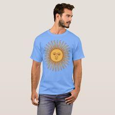 Argentina Coat Of Arms Light Blue Nation T-Shirt - customizable diy