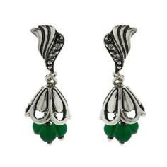 Green Beaded Earrings Jhumki Dangle Earrings Sterling Silver Jewelry - http://www.wonderfulworldofjewelry.com/jewelry/green-beaded-earrings-jhumki-dangle-earrings-sterling-silver-jewelry-couk/ - Your First Choice for Jewelry and Jewellery Accessories