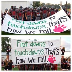 Football run through sign- the cheerleaders are really on their game this year… Homecoming Posters, Homecoming Signs, Football Homecoming, Homecoming Parade, Football Game Signs, Football Cheer, Football Posters, Football Season, Football Spirit Signs