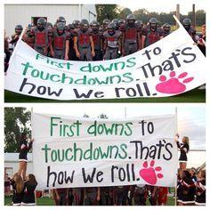 run through banners for football | Football run through sign- the cheerleaders are really on their game ...