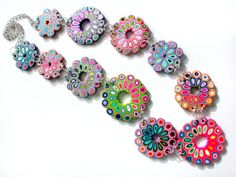 Polymer Clay Necklace Spring Rose Windows by SilviaOrtizDeLaTorre,