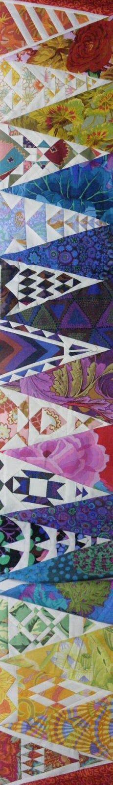 """Quilt border for """"Dear Kaffe"""": a Dear Jane quilt made with Kaffe Fassett Fabrics. 100 rozen quilt shop, Amsterdam, Netherlands"""