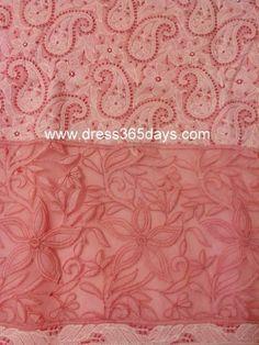 Peach Cotton Unstitched Kurta Fabric with Chikankari and Net Applique Daaman