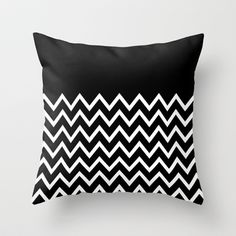 White Chevron On Black Throw Pillow by Pencil Me In ™ - $20.00