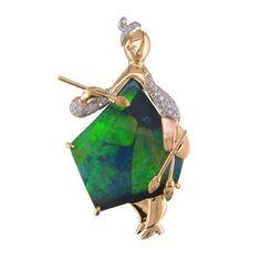 Oscar Heyman Brooch. Gold, platinum, opal, diamond