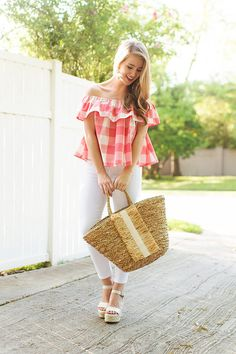gingham off the shoulder top | a lonestar state of southern