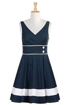 eShakti Womens Contrast trim A-line poplin dress $64.95 AT vintagedancer.com