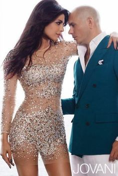 Bollywood actress-turned-singer, Priyanka Chopra, wears Jovani in her music video with rapper Pitbull for her second single 'Exotic.'   Jovani 7757