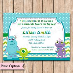 Mini monsters inc baby shower invitation by heartfeltinvitations mini monsters inc baby shower invitation by heartfeltinvitations baby shower pinterest shower invitations monsters and babies filmwisefo