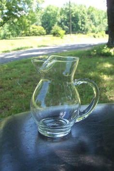 Art Glass Hand Blown Pitcher Creamer Sized by AntiquesandVaria, $34.20