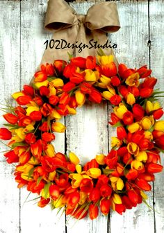 TULIP WREATH Door Wreath SPRING Wreath Welcome by 102DesignStudio