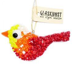Handgemaakte glazen vogel van rood, oranje en geel glas. Unieke vogel glashanger!