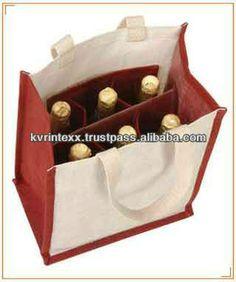 strong burlap wine bag 6 wine bottles