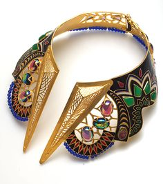 Manish Arora/Amrapali collection multi-coloured jewelled necklace with enamel work and semi-precious stones.