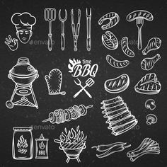 BBQ Feast Party Set by setory BBQ Feast Party Set,vintage engraving style, Isolated vector illustration, hand drawn elements.White line on the black . Blackboard Drawing, Blackboard Art, Food Wrapping Paper, Meat Art, Chalk Typography, Pub Design, Chalk Drawings, Logo Restaurant, How To Cook Steak