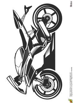 Image à colorier d'une moto sportive