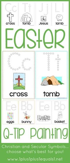 Easter Q-Tip Painting Printables {free}