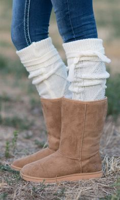 Ivory Boot Sock Long Leg Warmer with Tie