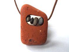 Cascading River Rock Necklace In Terra Cotta by LiveInArtJewelry Rock Necklace, Rock Jewelry, Stone Jewelry, Pendant Jewelry, Concrete Jewelry, Pebble Stone, Stone Art, Ceramic Jewelry, Polymer Clay Jewelry