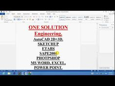Tutorial Lecture 1, Autocad, Sketchup, Etabs2015, CSi Photoshop, Ms Word...