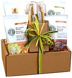 Know the way to the heart of the coffee-lover in your life with the Starbucks Sampler Gift Set. Keep your friends and family on-the-go with a sampling of Starbucks coffee, including Breakfast Blend, House Blend, Verona and Café Estima. Starbucks Gift Baskets, Coffee Gift Baskets, Gourmet Gift Baskets, Gourmet Gifts, Food Gifts, Gourmet Recipes, Basket Gift, Drink Recipes, Starbucks Breakfast