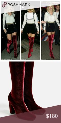 """Zara velvet over the knee boots New with tag.  EUR 37 US 6.5.   MAIN FABRIC 50% elastane, 50% polyester LINING 80% polyester, 20% polyurethane SOLE 100% thermoplastic rubber SLIPSOLE 100% goat leather  Burgundy velvet over-the-knee stretch boots. High stretch leg that fits to the foot. Pointed. Velvet lined heel.  heel height 9,5 cm/ 3.7""""  Color Burgundy Zara Shoes Over the Knee Boots"""