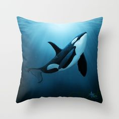 "Throw Pillow ••• ""The Dreamer"" orca • killer whale art by Amber Marine ••• AmberMarineArt.com © •••"