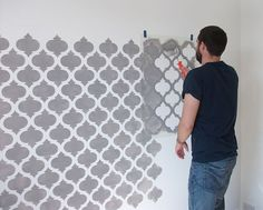 This Moroccan quatrefoil pattern stencil can be used to paint over a wall area to create a beautiful hand painted wallpaper effect. You line the