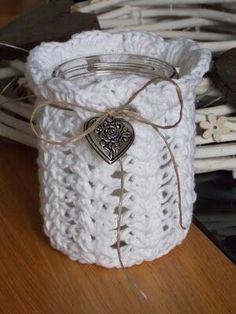 Crochet Cozy, Love Crochet, Crochet Gifts, Diy Crochet, Mason Jar Crafts, Mason Jar Diy, Crochet Jar Covers, Jar Design, Knitted Slippers