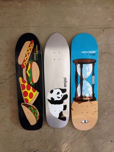 Custom Enjoi decks. Caswell Berry and Cairo Foster graphics are from Fall 13 and the silver Panda is unreleased. All 3 boards are custom one-off shapes. #enjoi #skateboards