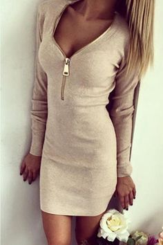 Apricot Long Sleeves Ribbed Zip Body-con Mini Dress