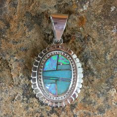 David Rosales Amazing Light Inlaid Sterling Silver Pendant