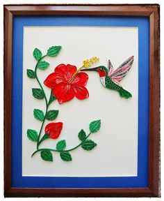 Paper Quilled Hummingbird Hibiscus Flower artwork by IvyArtWorks Quilling Paper Craft, Paper Crafts, Breast Cancer Survivor Gifts, Flower Artwork, Cardboard Art, Quilling Patterns, Hibiscus Flowers, Stained Glass Art, Paper Art