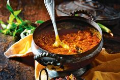 Dhal with spicy onion and eggplant