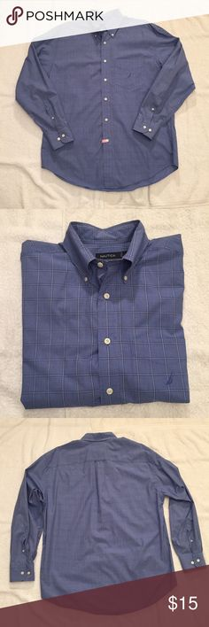 """Nautical Blue on Blue Plaid Dress Shirt Nautical Blue on Blue Plaid Dress Shirt. Size L measures: 16.5"""" neck, 21"""" across shoulders, 25"""" sleeve, 32"""" long. 100% cotton. In great, barely worn condition. fds/11617 Nautica Shirts Dress Shirts"""