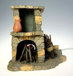 Fontanini 5 In Lighted Fireplace 94802 Nativity Stove Roman MIB
