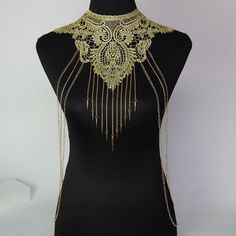 Gold Lace Sexy Body Chain with Hanging Fringe Rivet Pendant Tassels