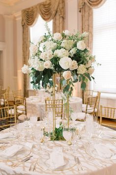 White & Metallic DC Carnegie Institute for Science Wedding by Alicia Lacey Photography. As seen on United with Love, a source for DC wedding inspiration. Blush Centerpiece, White Floral Centerpieces, Gold Wedding Centerpieces, Greenery Centerpiece, Wedding Decorations, Simple Centerpieces, Table Decorations, Floral Wedding, Wedding Flowers