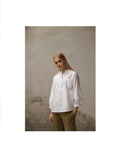 Oxford white shirt with dark olive green jersey pants. Pluto - On the Moon