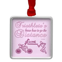 Triathlon Sports Ladies Triathlete Go The Distance Ornament This funny ladies tri sports design features a pink and purple runner, swimmer and cyclist. Triathletes know how to go the distance. Great gift for a recreation or professional lady or girl triathlete, team, personal trainer or coach, for a triathlete who loves doing triathlons, swimming, cycling and running. #funny #triathlon #gift