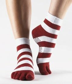 Toesox Full Toe Ankle Grips- Yoga Socks  This micro-crew, light-weight toe sock features a patented non-slip grip are great for yoga, pilates, dance, martial arts, and all barefoot activities, including lounging around.  Order them today @ www.socksaddict.com