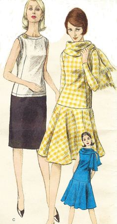 1960s Vogue Sewing Pattern 6073 Womens One Piece by CloesCloset