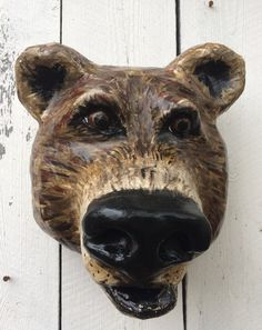 Brown Bear faux taxidermy head by MrPolskysMenagerie on Etsy