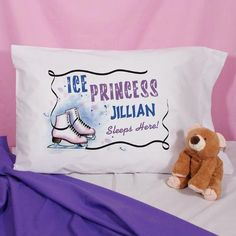 Personalized Ice Skating Princess Pillowcase